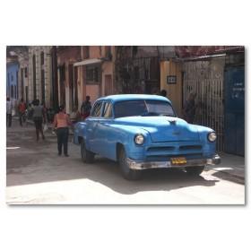 Αφίσα (Κούβα, άνθρωποι, δρόμοι, αυτοκίνητο)